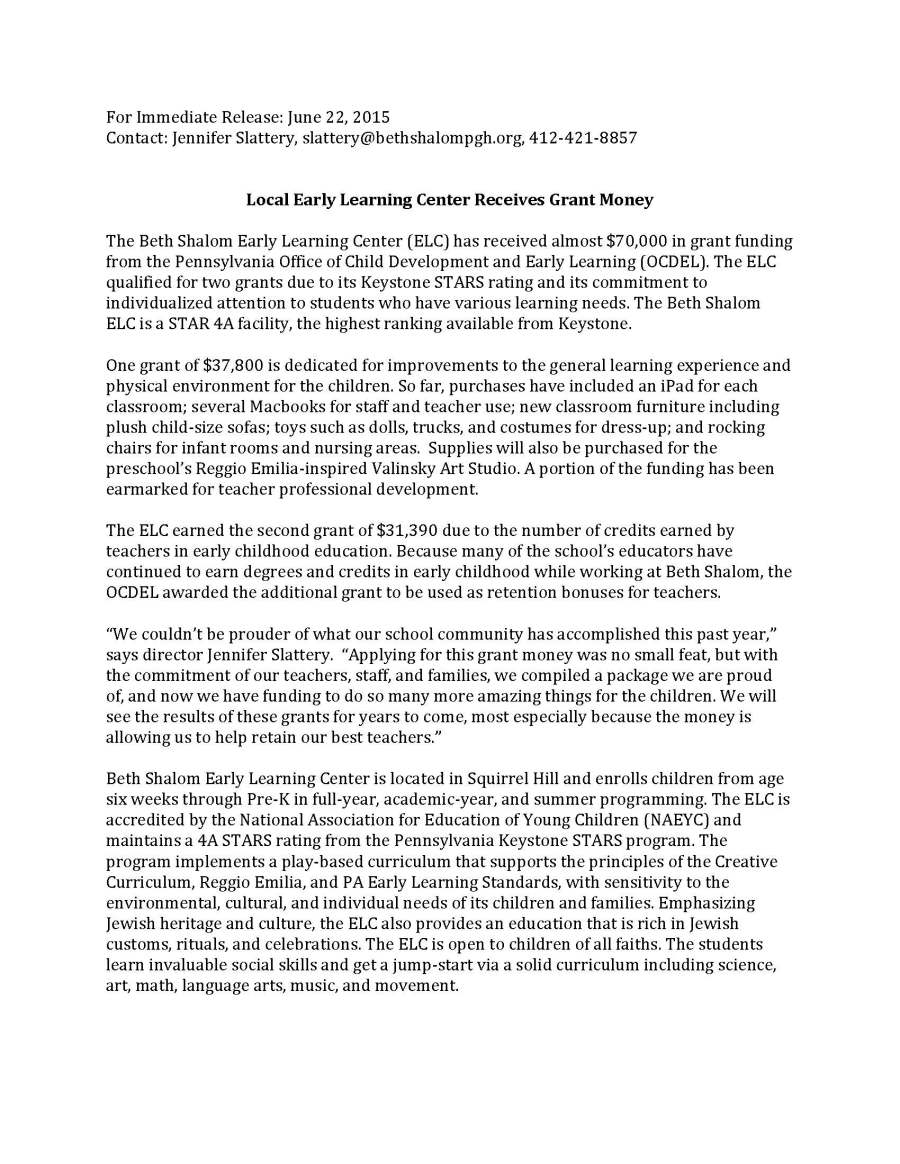 ELC Press Release Final 2015